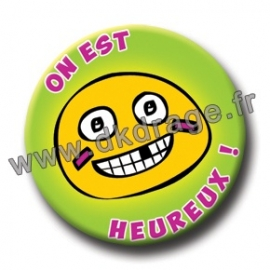 Badge Made in DK On est heureux 38mm