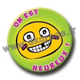 Badge Made in DK On est heureux 38mm
