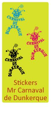Stickers Mr Carnaval de Dunkerque, en 5 couleurs et 2 tailles