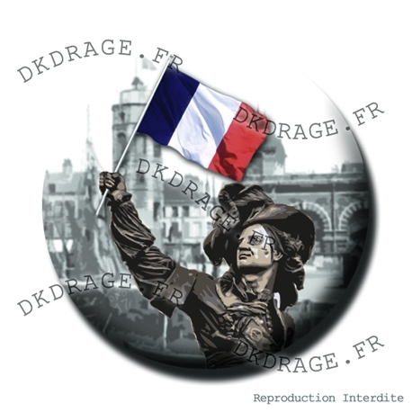 Badge Jean Bart 1er supporter Dunkerquois - Collector Euro France 2016