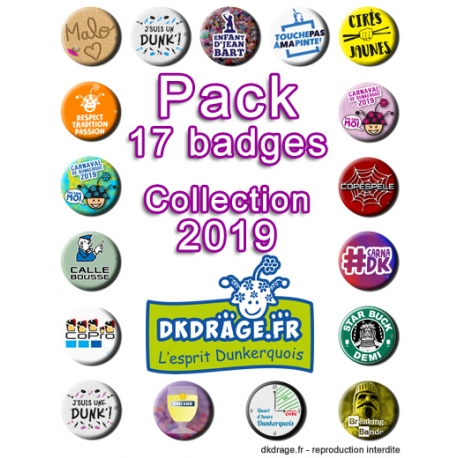 Pack 17 badges - Collection 2019