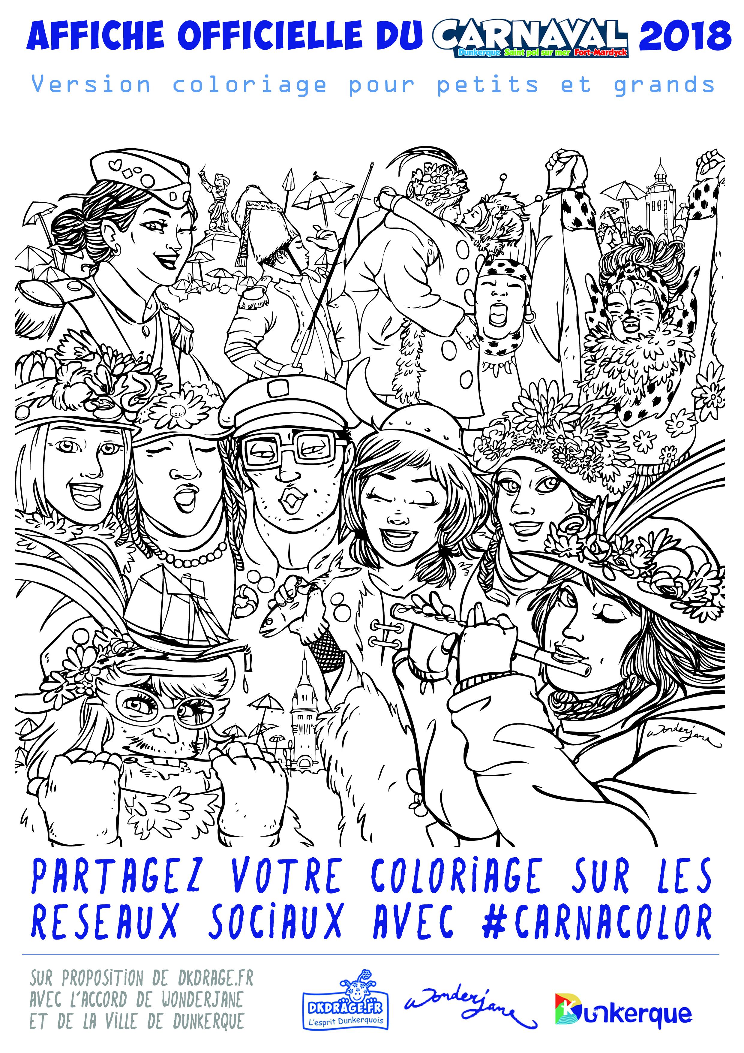 Affiche du carnaval 2018 en version coloriage. Clic droit > Enregistrer sous